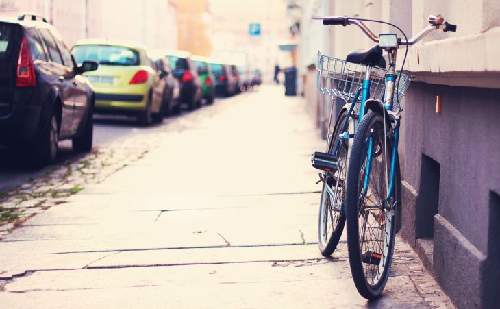 alone-bicycle-street-tilt-shift-bicycle-street-city-cars-parking-sidewalk